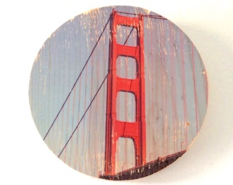 "International Orange: Golden Gate Bridge - 5"" Round Distressed Photo Transfer on Wood"