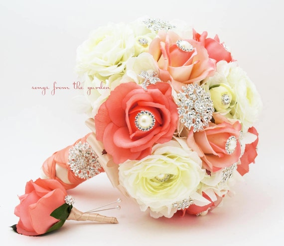 Coral White Brooches & Blooms Bridal Bouquet Silk Flower Wedding Bouquet Groom Boutonniere Brooch Bouquet - Customize For Your Colors