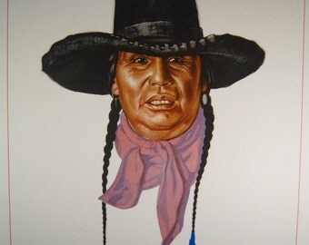 """Vintage Blackfoot Indians of Glacier National Park Print by Artist Winold Reiss - """"Heavy Breast"""""""
