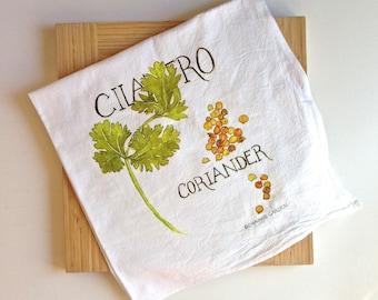 Flour Sack Tea Towel, Watercolor Cilantro