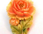 Vintage Celluloid Carved Flower Dress Clip