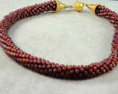 Burgandy Kumihimo Necklace, Seed Bead twisted necklace, Gold vermiel magnetic claps