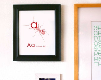Digital Alphabet Art Print, A is for Ant 8x10 Inch