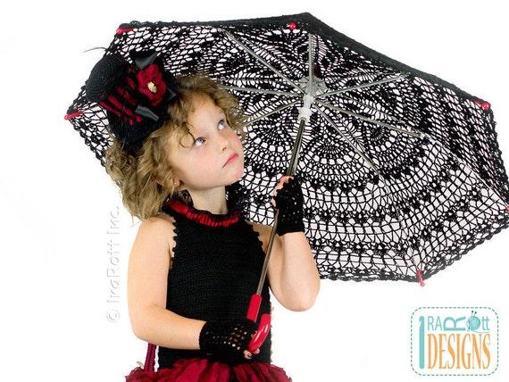 CROCHET PATTERN Victorian Goth Steampunk Style Lace Parasol Crochet Pattern in PDF