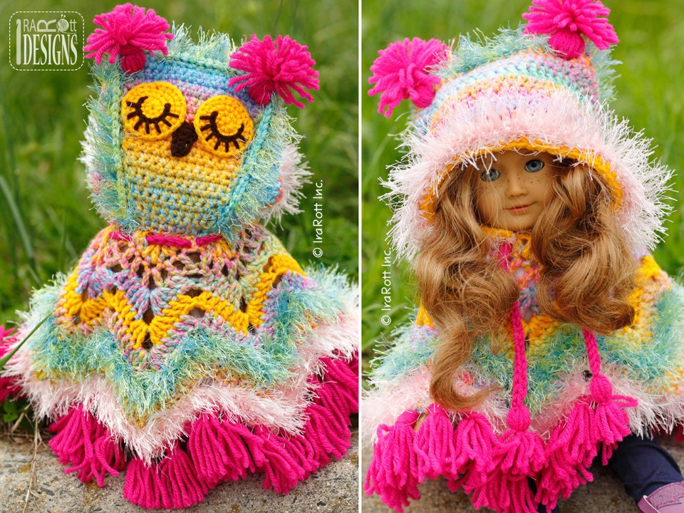 Crochet Doll Cape Pattern : PATTERN Fiesta Owl Doll Poncho with Hood Crochet PDF Pattern