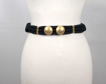 Vintage Carolyn Tanner Designs Black Belt with Gold Accents