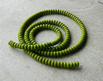 Olive Czech glass donut beads, Rondelle glass beads, 4mm, Opaque Olive (100pcs) NEW