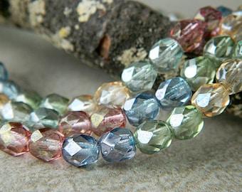 Pastel Luster Czech Glass round bead Mix, Czech glass fire polished round beads, Lumi Czech glass bead mix (50pcs) NEW