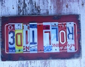 8 letter COLLEGE TEAM NAME Football Sports Customized License Plate Word Block Sign Name States Wedding 10th Anniversary Metal Art Recycled