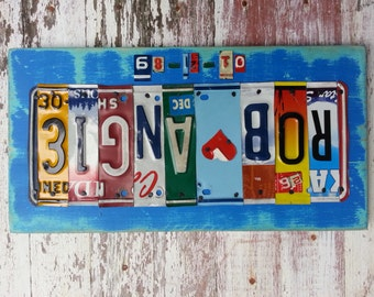 10th Wedding Anniversary Tin Aluminum Gift - 10 year wedding anniversary gift for men husband - License Plate Sign Name Word Personalized