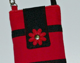 Black and Red Phone Case with Wrislet and Back Zipper Pocket iPhone 4 5 6 Plus Smartphone LG Xperia Galaxy Note