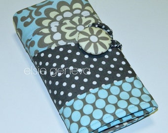 Spill Proof Slate Blue & Gray Lotus Spill Proof DPN  Interchangeable Circular Knitting Crochet Organizer Case Roll
