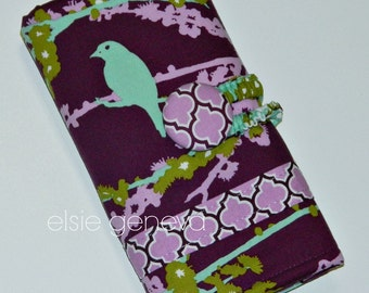Bird Crochet Hook Case Organizer with Notions Zipper Pocket - Purple Green Aqua