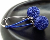 Knitted Wire Dangles, Sapphire Blue Dangle, Blue Wire Bead Drops,Navy Blue Dangles, Cobalt Blue Dangles, Wire Cluster Earrings