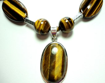 Tigereye Necklace with Sterling