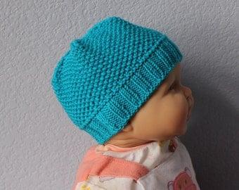 Knit baby hat Unisex baby beanie. Scuba blue. Merino wool Newborn to 18 months Baby shower gift under 30 Photo prop Children clothing