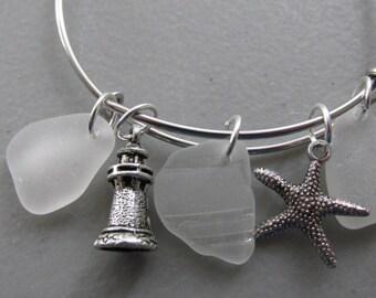 Sea Glass Bracelet, Charm Bracelet, Adjustable Bangle Bracelet, Sea Glass Expandable Bracelet, Starfish Charm, Lighthouse Charm