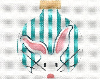 The White Bunny Turquoise Stripes Needlepoint Ornament - Jody Designs - Turquoise