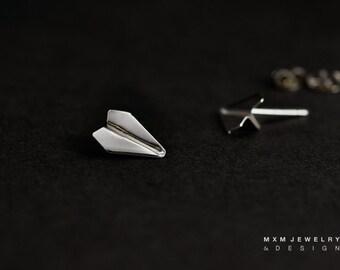 Mini HandFolded Paper Airplane Stud Earrings