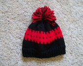 Knit Hat - Red and Black with fringe top  Fits Teens to Adults