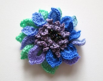 FREE US SHIPPING - Light Green Lavender Violet Lilac Light Purple Blue Color Crochet Statement Flower Brooch Hat Hair Shawl Scarf Pin