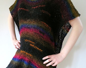 Double Rainbow Colors Black Color Acrylic Yarn Knitted Poncho Wrap Dropped Shoulders Oversized Tunic with Crochet Rings