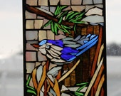 glass on glass Mosaic - BlueBird -  Stained Glass SunCatcher or wall Decoration