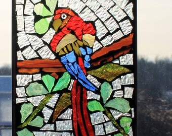 Parrot  on a branch   - Mosaic Stained Glass SunCatcher or wall Decoration
