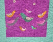 Modern Birds and Polka Dots Collage Lap Quilt
