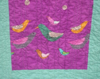 SALE - Modern Birds and Polka Dots Collage Lap Quilt
