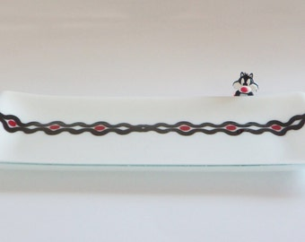 Modern Contemporary Fused Glass Tray Art Dish in CLassic BLacK White and Red