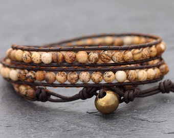 Brown Jasper Leather Triple Wrap Bracelet