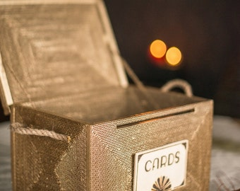 Wedding card box. wedding card holder. wedding card box with lock. LARGE money box gift. card holder.  vintage unique Keepsake box