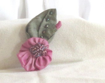 Handmade Flower Brooch - Handmade Silk Brooch - Hand Beaded Pin - Silk Taffeta Pin - Raspberry Ice 1