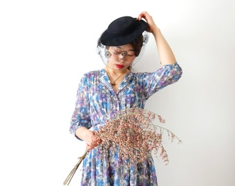 Blue aquarelle flower vintage dress, xs - small