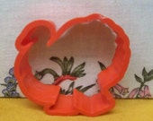 Turkey Cookie Cutter ~  Vintage Silhouette Turkey Shape Mold  ~ 3 Inches By 3 Inches  Red Hard Plastic ~ Recipe  ~ Mint