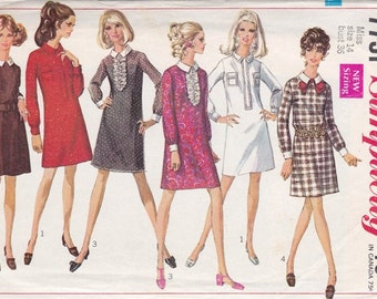 Misses * A * Line Dress Pattern ~ Simplicity 7751Size 14 ~ Easy To Sew ~ Band Front ~ Jabot ~ Cut But Complete