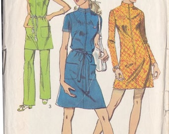 Misses Dress & Pants Pattern ~ Tunic Dress Stand Up Collar ~ Simplicity 8873 Size 12 ~ Cut But Complete