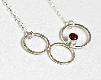 Red Garnet Necklace, Silver Circle Necklace, Bridesmaid Necklace, Gemstone Bridal Necklace, Red Bridal Necklace, Keryl Necklace