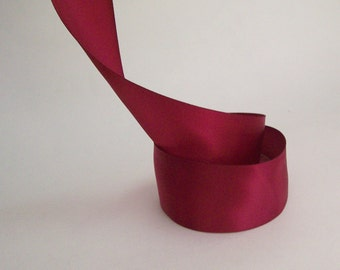 1.5 inch Wide Burgundy Deep Red Satin Ribbon by the yard