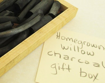 Artist Gift - Willow Charcoal - Eco Gift - Handmade Wisconsin-Grown Willow - Birdseye Maple Box  - WCGM121412