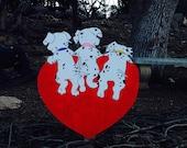 Three Baby Dalmatian Valentine Yard Decoration