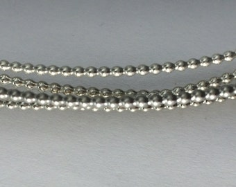 1 foot, Commercial supplies, full bead wire, 1.2mm, sterling silver,