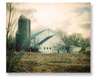 Barn Photography, Rustic Home Decor, Barn Landscape Print, White Barn, Country Home Decor, Farmhouse Print, Old Barn Picture, 8x10