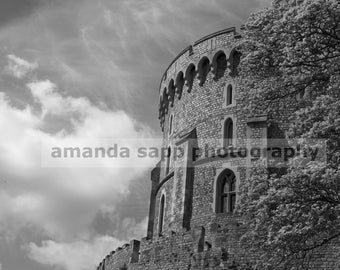 Windsor Castle tower black and white photograph