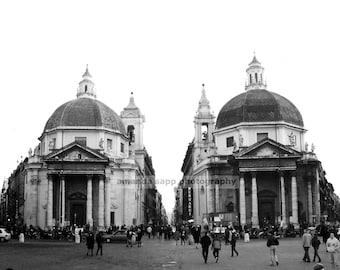 Piazza del Popolo Rome Italy black and white photograph