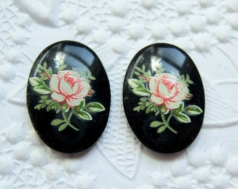 2 - Japanese porcelain 18x13mm pink rose on jet cameos-MK66