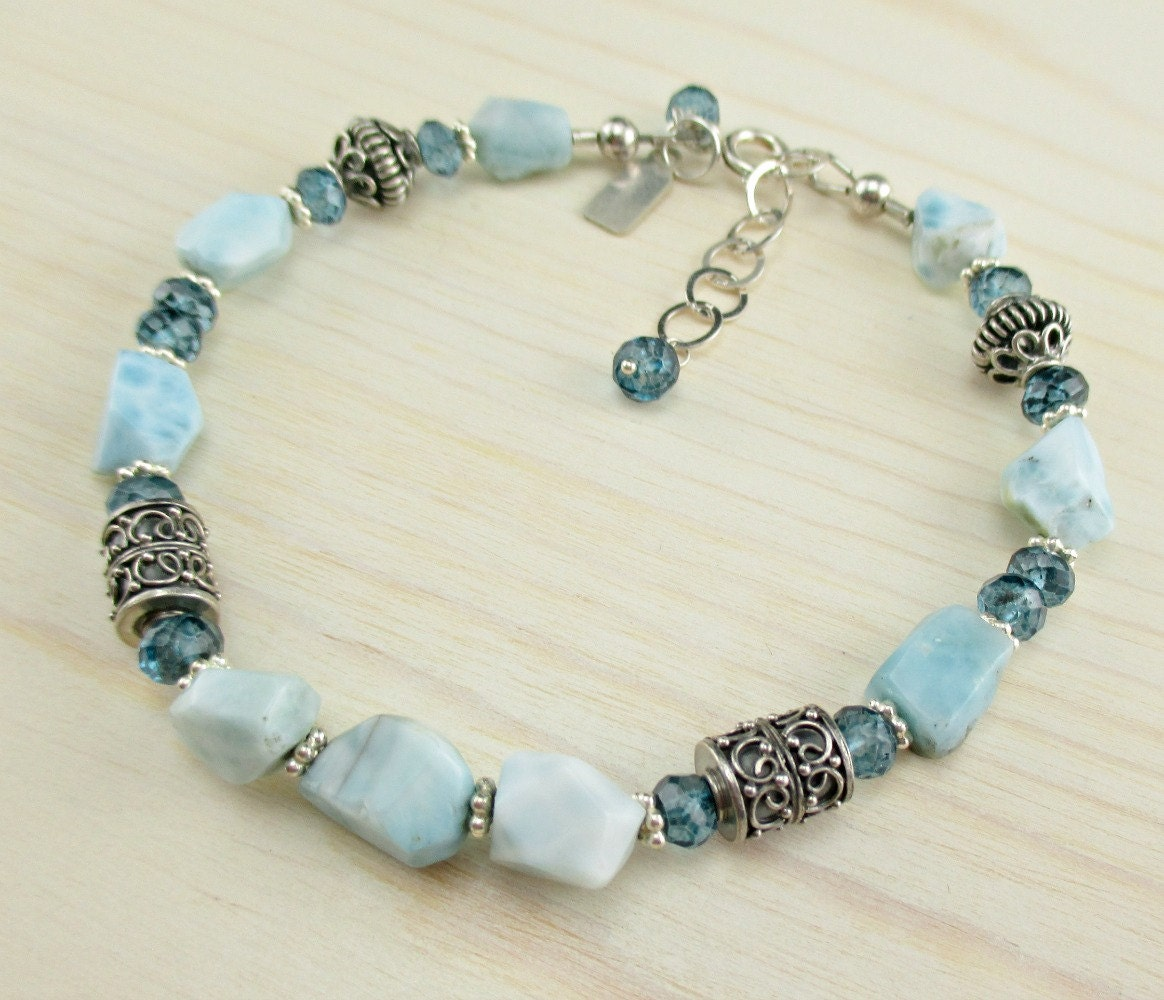 Larimar Bracelet London Blue Topaz Bali Sterling Silver