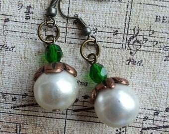 Dangle Earrings, Cream Pearls, Green, Long Earrings, Wire Wrapped