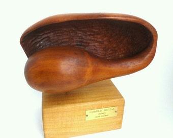 "Cherry Wood Conch Shell by Judith Copeland, Signed Art //""Bubble Bulla"" // Ocean//Nautical Home Decor//Beach Decor"